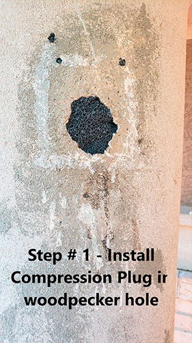 Woodpecker Stucco Repair Kit patches holes
