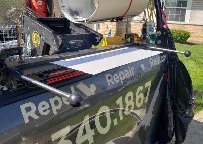 photo of 30 inch sheet metal brake in action