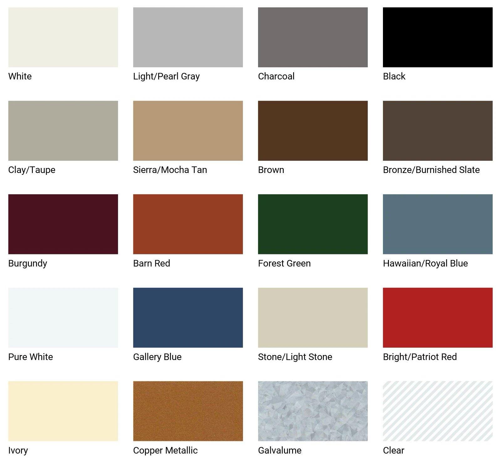 Solar Seal 900 Sealant Color Chart